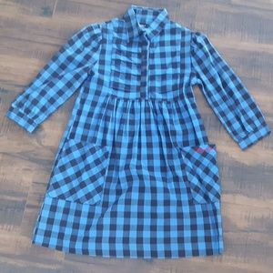 Plaid Button front  dress